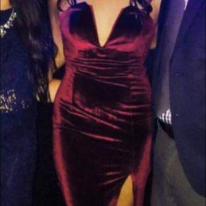 Tobi red velvet dress